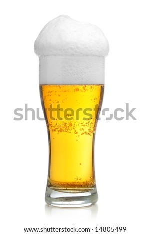 Glass of beer with froth isolated over white background - stock photo