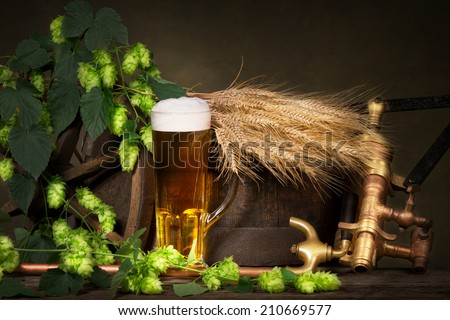 glass of beer with raw material for beer production - stock photo