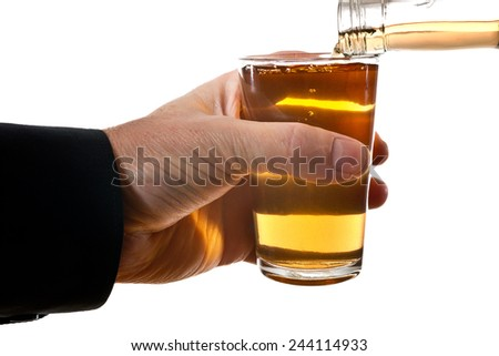 glass  of brandy isolated on the white - stock photo