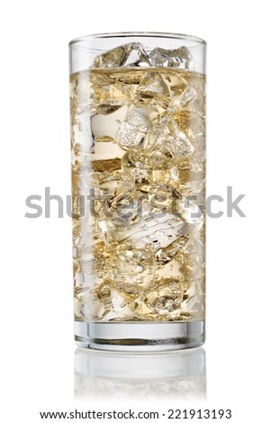 Glass of carbonated lemonade on white background. With clipping path  - stock photo