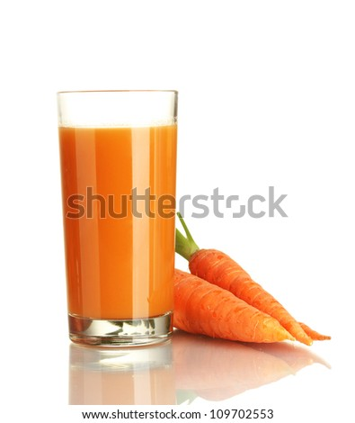 glass of carrot juice and fresh carrots isolated on white - stock photo