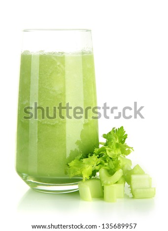 Glass of celery juice, isolated on white - stock photo