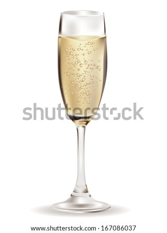 Glass of Champagne illustration over white background. - stock photo