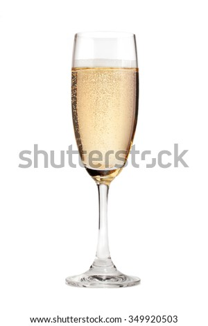 Glass of champagne isolated on a white background. - stock photo