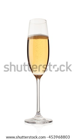 Glass of champagne isolated on a white background - stock photo