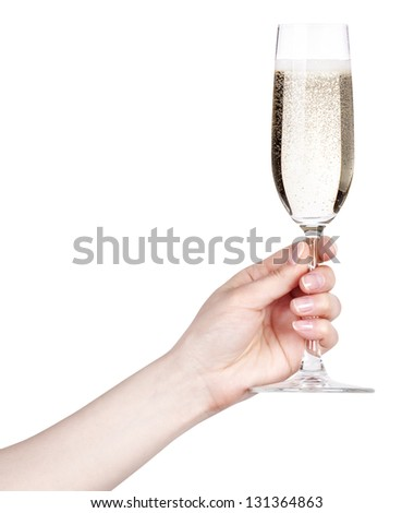 glass of champagne making toast on a  white background - stock photo