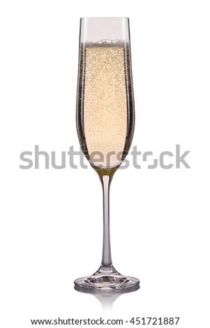 Glass of champagne with bubbles isolated on a white background. - stock photo