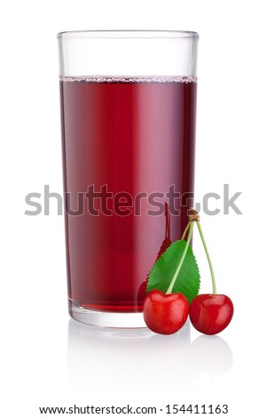 Glass of cherry juice with fruits isolated on a white background - stock photo