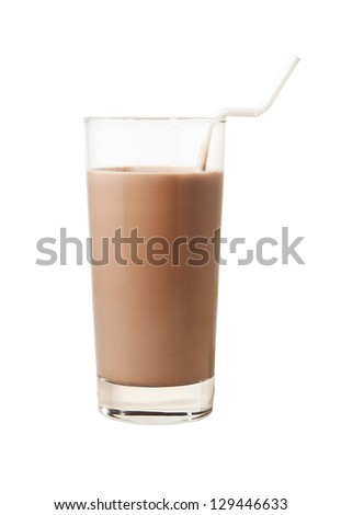 Glass of chocolate milk with flexible straw isolated with clipping path - stock photo