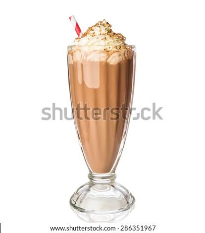 Glass of chocolate milkshake with whipped cream isolated on white background - stock photo