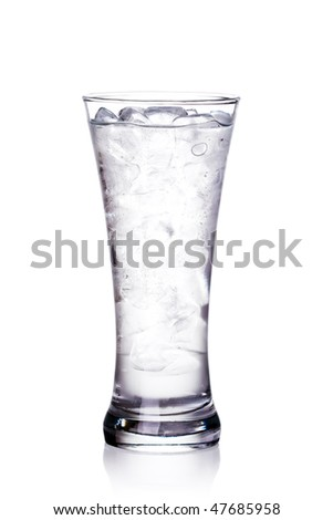 glass of clear water and ice. Isolated on white background with clipping path - stock photo