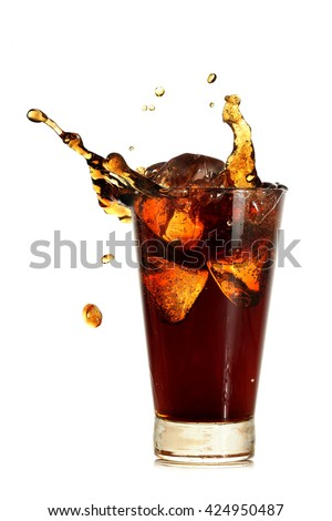 glass of coke with ice cubes and splash isolated on white - stock photo