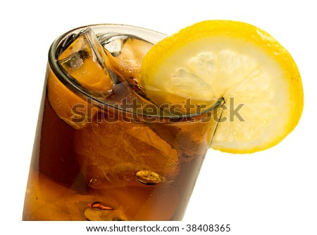 Glass of Cola with Ice and Lemon Isolated on White Background - stock photo