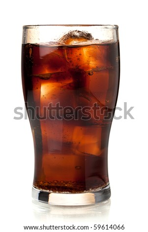Glass of cola with ice. Isolated on white background - stock photo