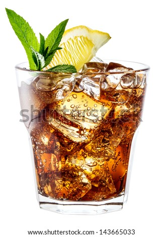Glass of cola with ice, mint and lemon isolated on white. Clipping path - stock photo