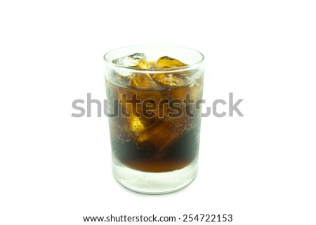 glass of cola with ice on white background - stock photo