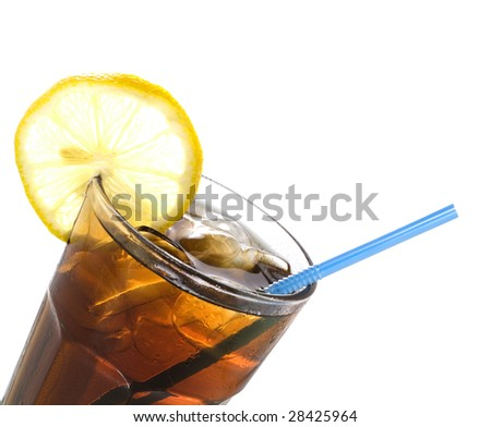 glass of cola with lemon and straw - stock photo