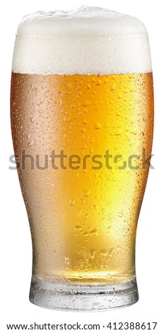 Glass of cold beer on a white background. Clipping path. - stock photo