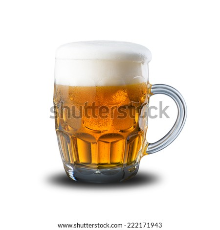 Glass of Cold Beer on White Background - stock photo