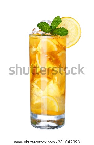 Glass Of Cold ice lemon tea Drink with mint isolated on white background - stock photo