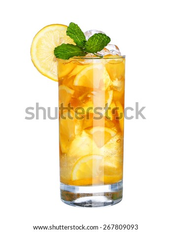 Glass Of Cold ice tea Drink isolated on white background - stock photo