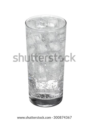 Glass of cold mineral carbonated water with ice cubes Isolated on white background - stock photo