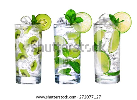Glass Of Cold mojito Drink collection with ice isolated on white background   - stock photo