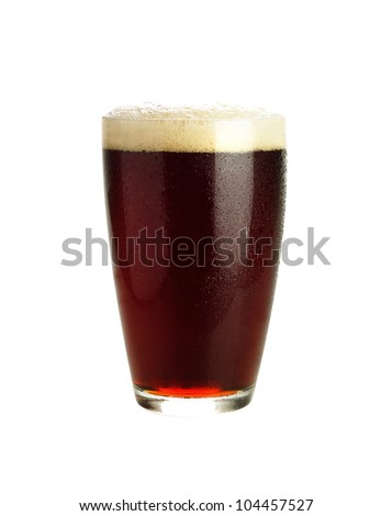 Glass of dark beer isolated on white - stock photo