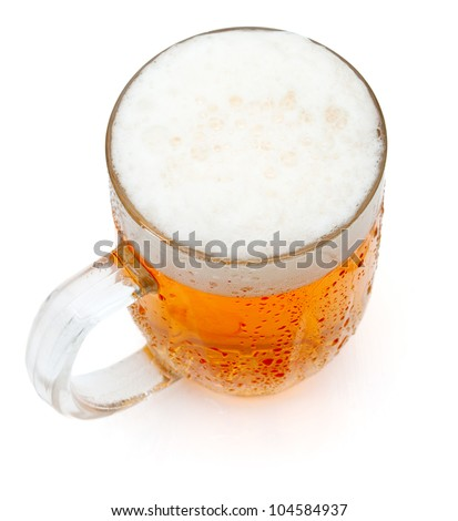 Glass of Draught Beer on White Background - stock photo