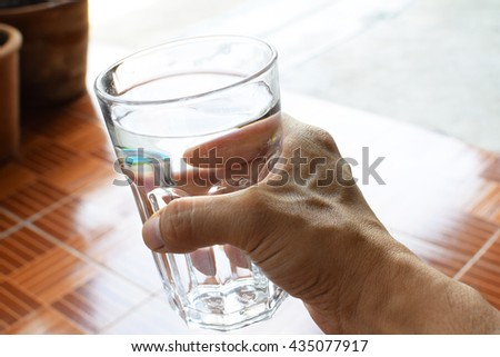 Glass of drinking water, drinking water - stock photo
