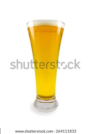 Glass of fresh beer isolated on white fone.Element design - stock photo