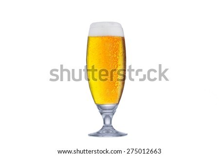 Glass of fresh beer with cap of foam isolated on white background. - stock photo