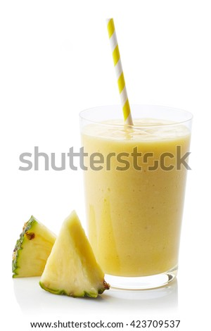 Glass of fresh healthy pineapple smoothie isolated on white background - stock photo