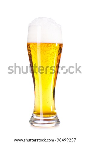 glass of fresh lager beer cut out from white - stock photo