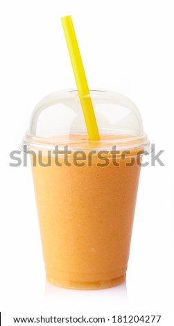 Glass of fresh mango smoothie isolated on white background - stock photo