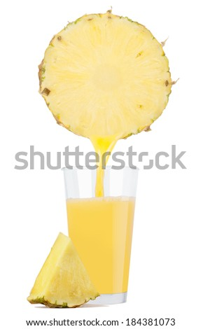 Glass of fresh pineapple juice with pineapple  - stock photo