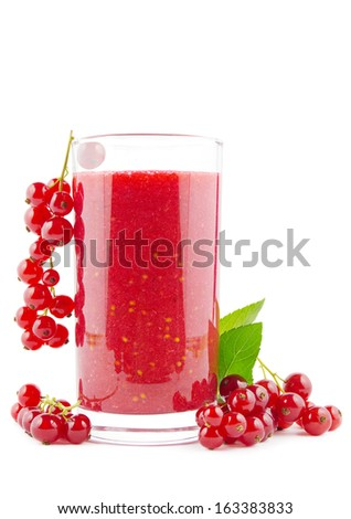 Glass of fresh red currant smoothie on white - stock photo