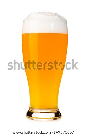glass of fresh unfiltered beer cut out from white - stock photo