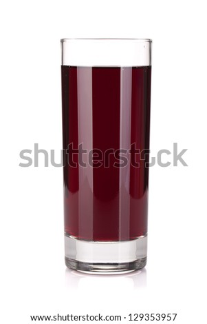 Glass of grape juice. Isolated on white background - stock photo