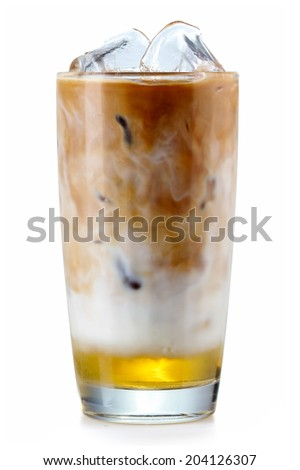 Glass of iced coffee with syrup isolated on white background - stock photo