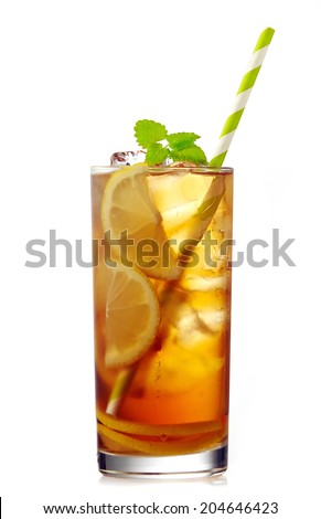 glass of iced lemon tea with dew isolated on a white background - stock photo