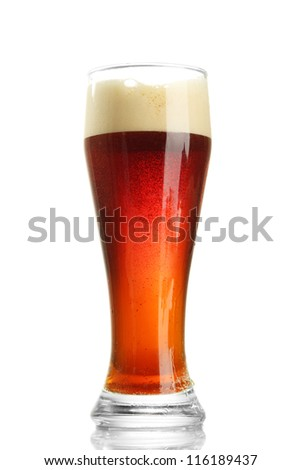 glass of kvass, isolated on white - stock photo