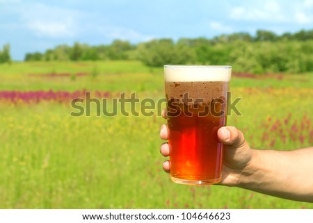 Glass of lager beer in the hand against spring field background - stock photo