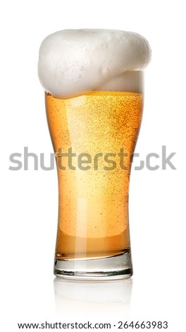 Glass of light beer isolated on a white background - stock photo