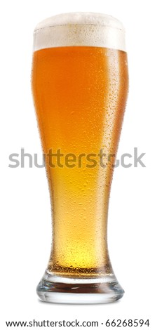 Glass of light beer isolated on white background - stock photo
