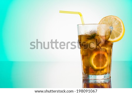 Glass of Long Island iced tea - stock photo