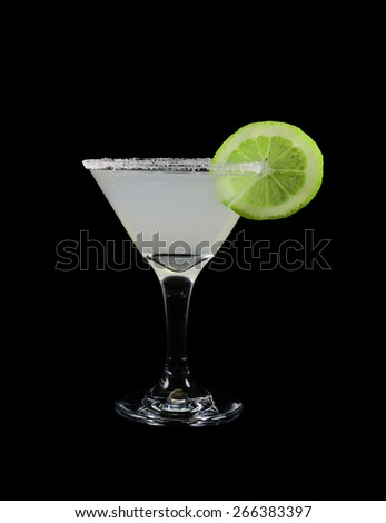 Glass of margarita cocktail isolated on black. design element - stock photo