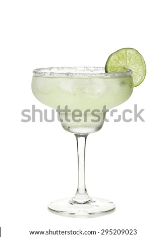 Glass of margarita cocktail on a white background. - stock photo