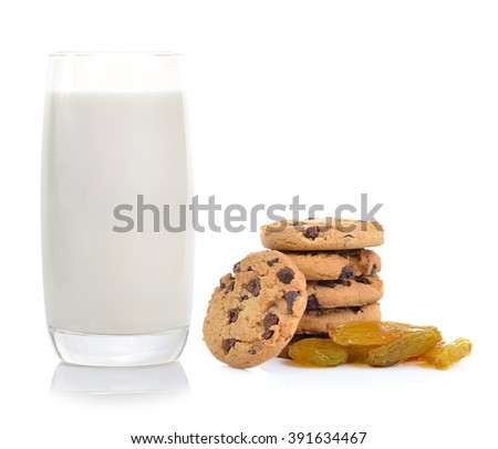 Glass of Milk and raisin cookies isolated on white background - stock photo