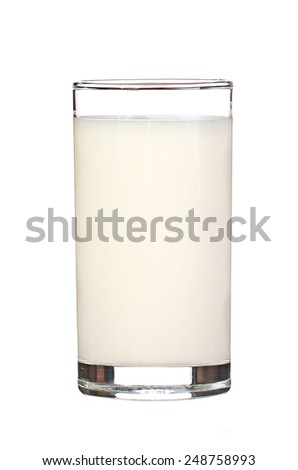 Glass of milk isolated on white - stock photo